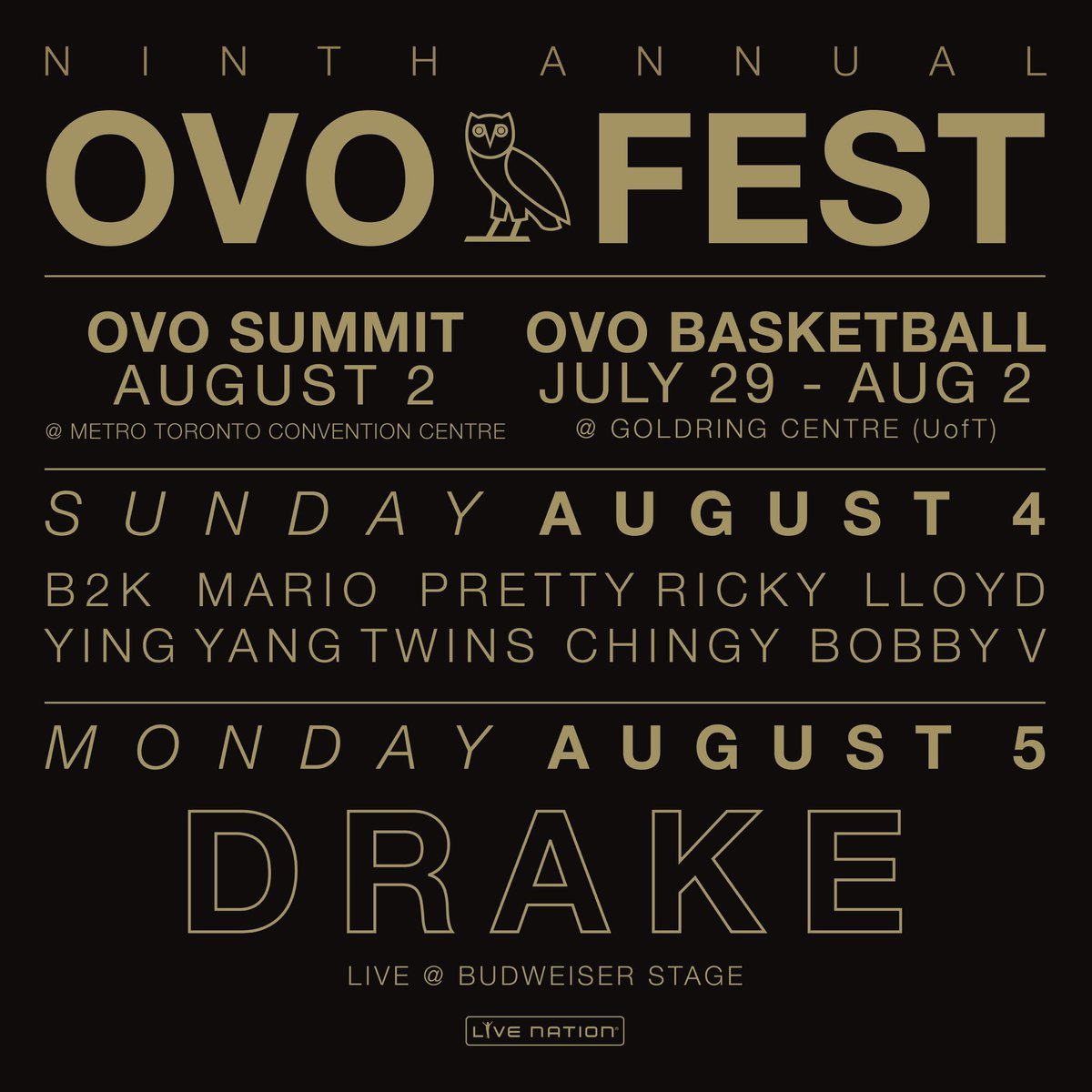 October's Very Own presents the Ninth Annual OVO Fest.  Tickets available via @Ticketmaster Friday at 10am.<br>http://pic.twitter.com/uSmgBkeuR7