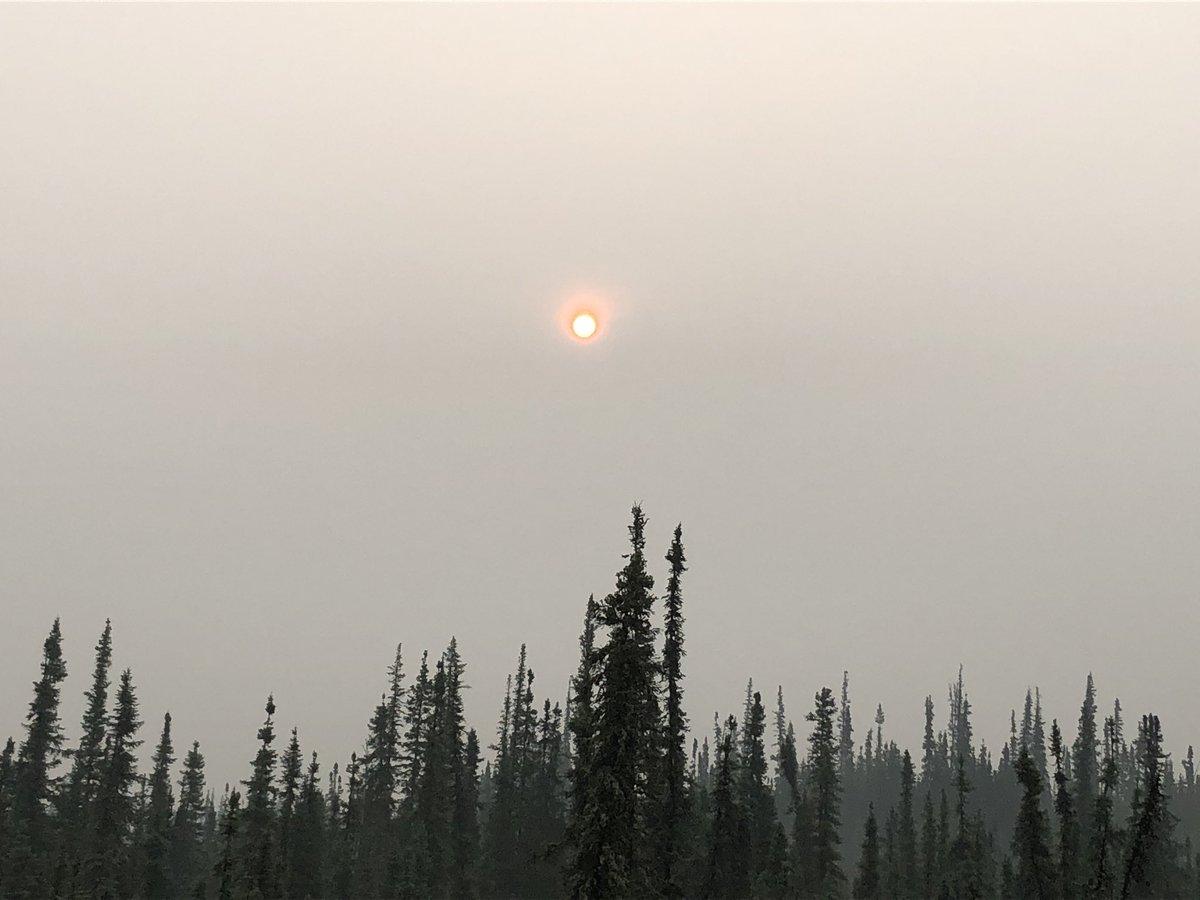 It's time for my obligatory sun in the smoke photo. #alaska #AlaskaSummers #wildfire #alaskaliving #alaskawildfires