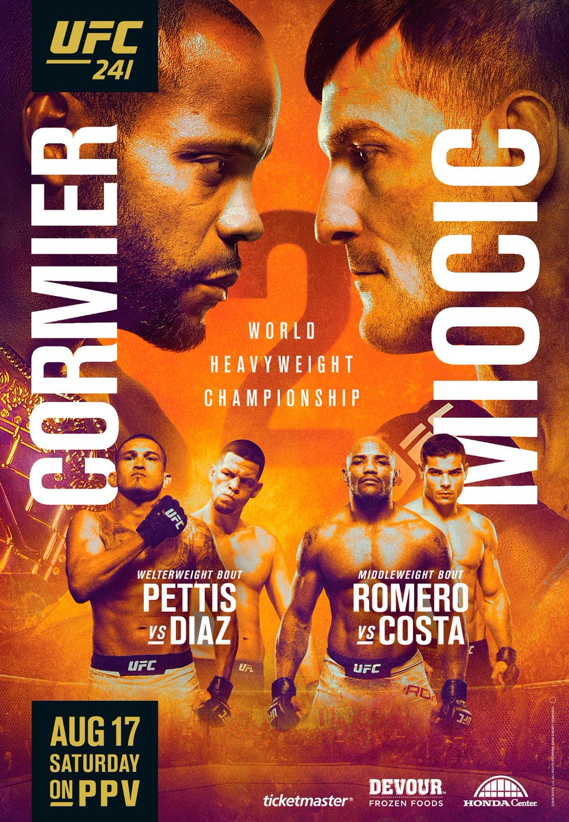 Anaheim brings the 🔥!  @DC_MMA vs @StipeMiocic 2️⃣ @ShowtimePettis vs @NateDiaz209  @YoelRomeroMMA vs @BorrachinhaMMA  #UFC241 https://t.co/2Xoo9b2ql6