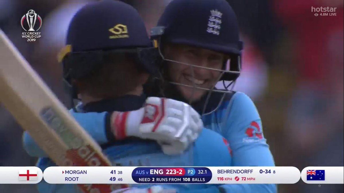 Look at the way Joe Root's smiling. That's the happiness of reaching the World Cup finals. He didn't care that he didn't get the chance to score his 50.#ENGvAUS