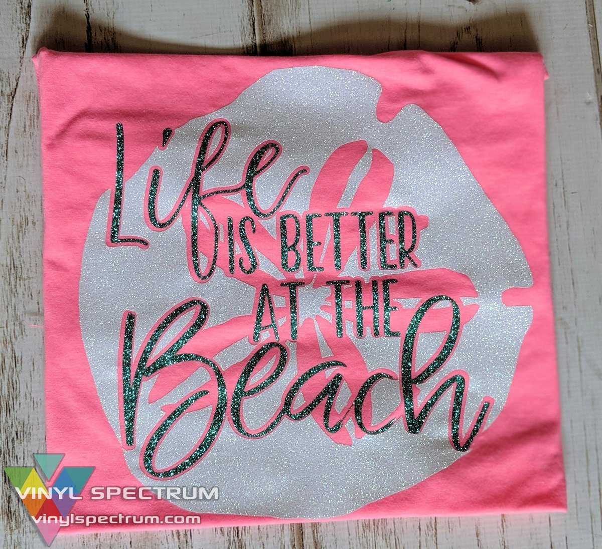 Life is better at the beach! Do you agree? White Rainbow Siser Glitter and Jade Glitter used!  #VinylSpectrum #lifeisbetteratthebeach #sanddollar #beach #vacay #vacation #sea #glitter #travel #Silhouette #Siser #glitterhtv #vinyl #jade #rainbow #white #crafty #shopsmall #explore