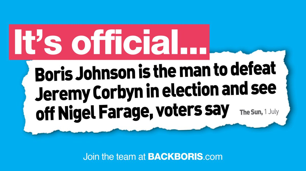 I am the only candidate who can deliver Brexit by 31st October, win back Conservative voters and stop Jeremy Corbyn getting into Downing Street.  Join my team 👉 http://backboris.com