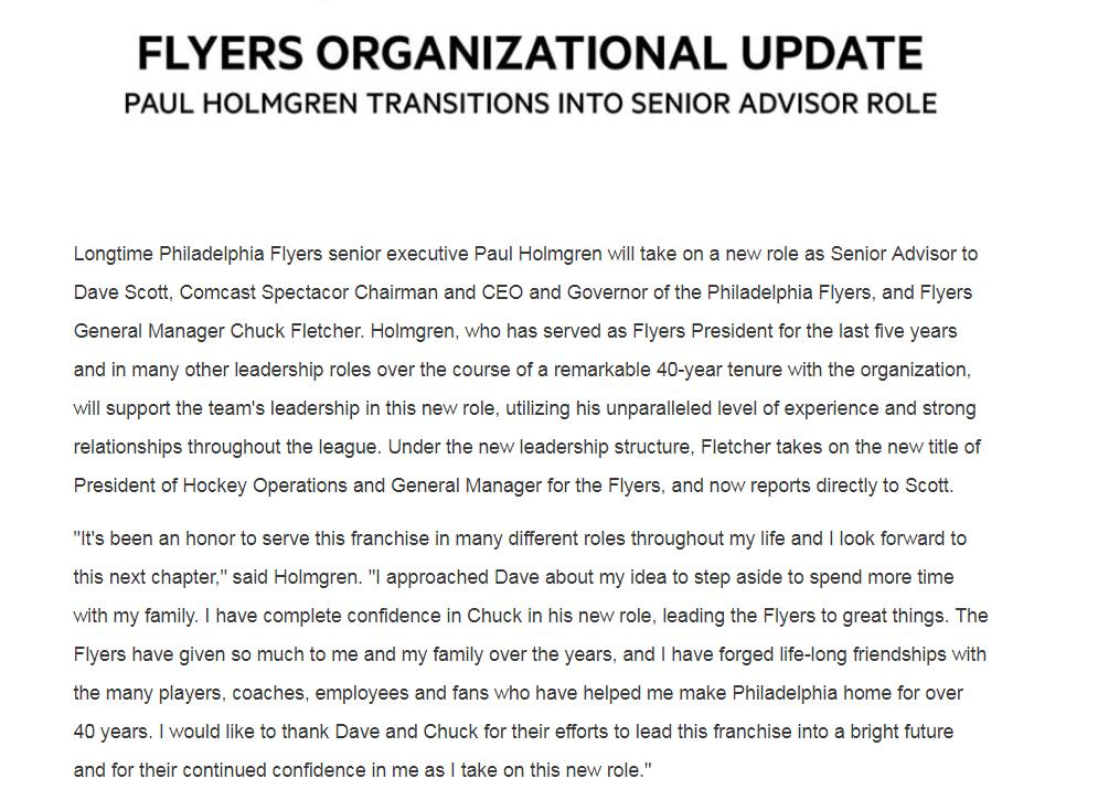 Flyers announce Paul Holmgren is moving into a role as senior advisor to Comcast Spectacor CEO Dave Scott and Flyers GM Chuck Fletcher