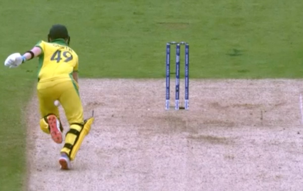 Steve Smith was very nearly caught with a different kind of ball tampering situation as part of his run out. #ENGvAUS