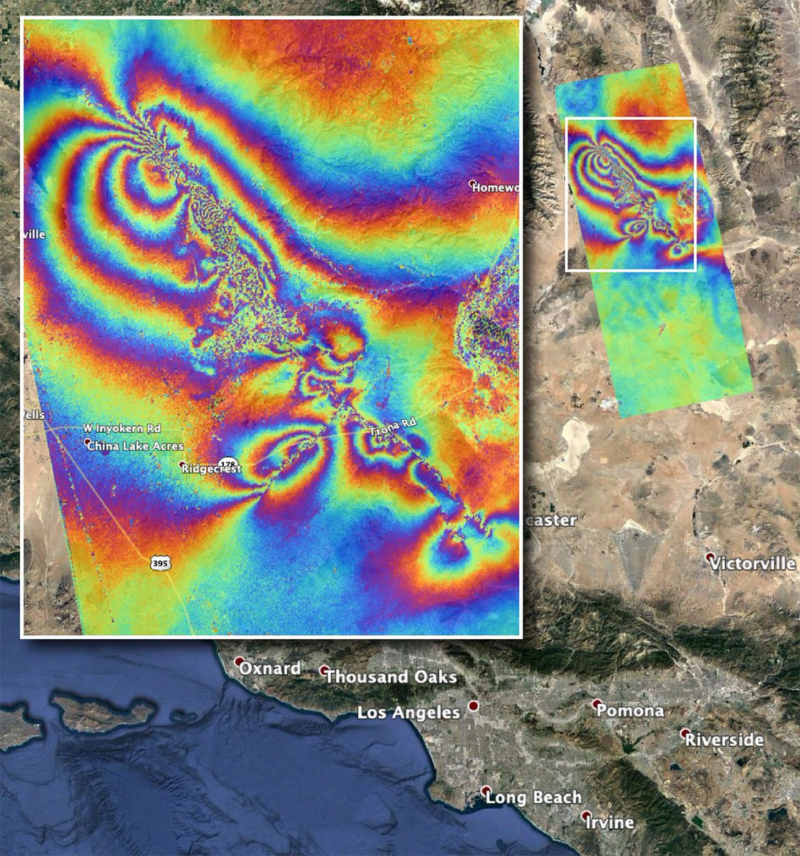 Two major earthquakes that rattled the southern region of California on July 4 and 5 can be seen from space. That's right. The Advanced Rapid Imaging and Analysis team at @NASAJPL has produced a map showing the resulting surface displacement. 📖: go.nasa.gov/2XBrt1L