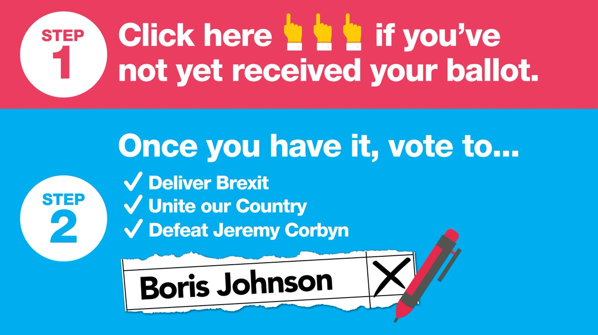 Vote for @BorisJohnson to deliver Brexit by 31st October, unite our country and defeat Jeremy Corbyn.   If you haven't received your ballot by now, please visit: http://backboris.com/ballot