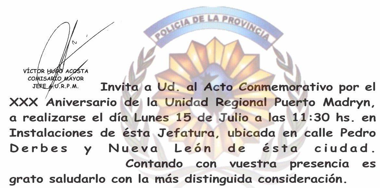 El lunes 15/07 a las 11:30 hs., la Unidad Regional de #Madryn recordará su aniversario n° 30 con un acto en sus instalaciones ubicadas en Derbes y Nueva León.