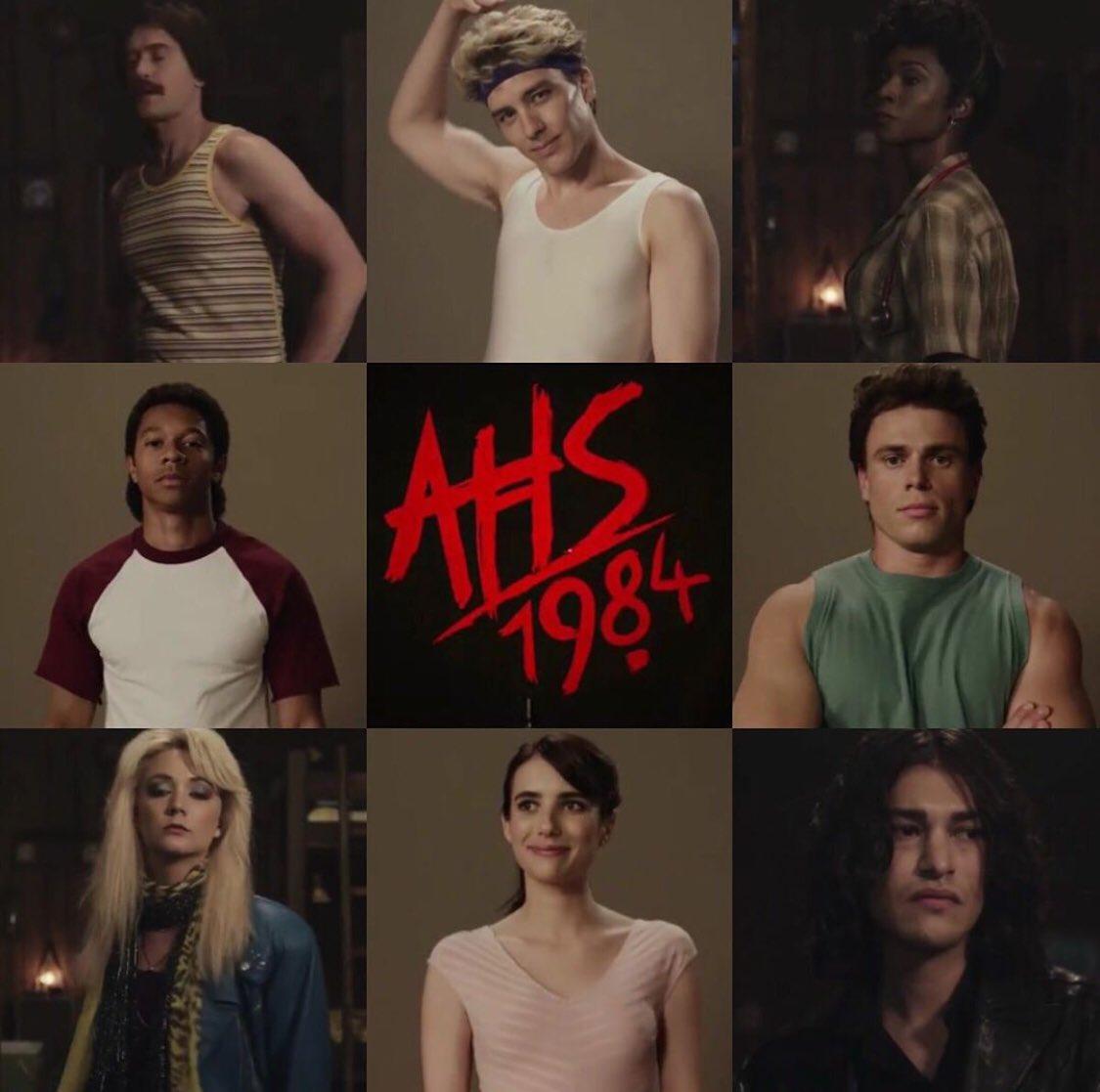 "¡Con ustedes el cast oficial de ""AHS: 1984""! Emma Roberts, Gus Kenworthy, Billie Lourd, Cody Fern, Leslie Grossman, Matthew Morrison y John Carroll Lynch. <br>http://pic.twitter.com/6sehECkiKh"