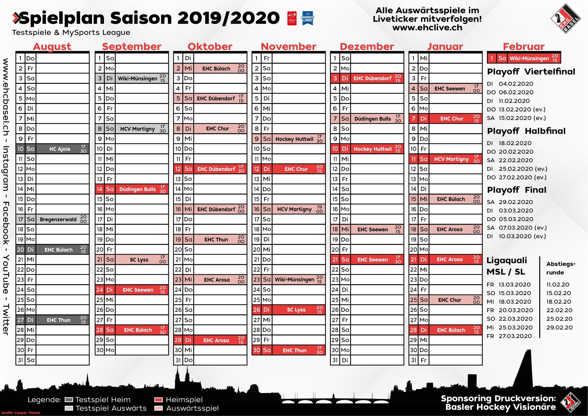 EHC Basel Spielplan