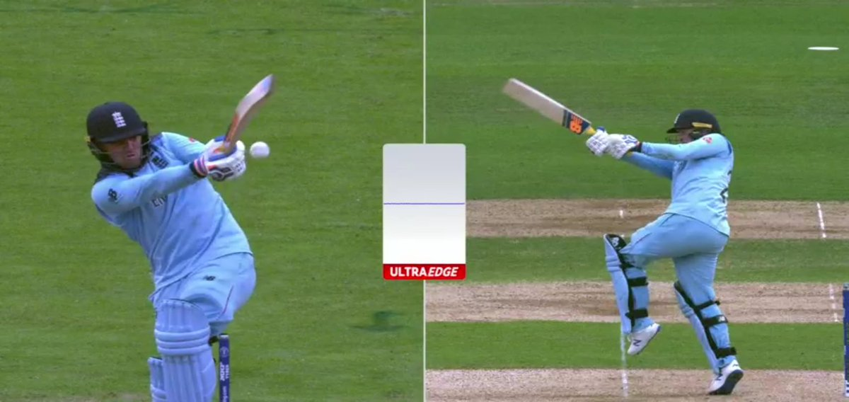 Pathetic umpiring continues in semi-finals as well. No edge, not even looking close but Dharmasena screwed Jason Roy's century.Irony is now ICC will fine the batsman for Umpire's mistake👏#AUSvENG #ENGvAUS