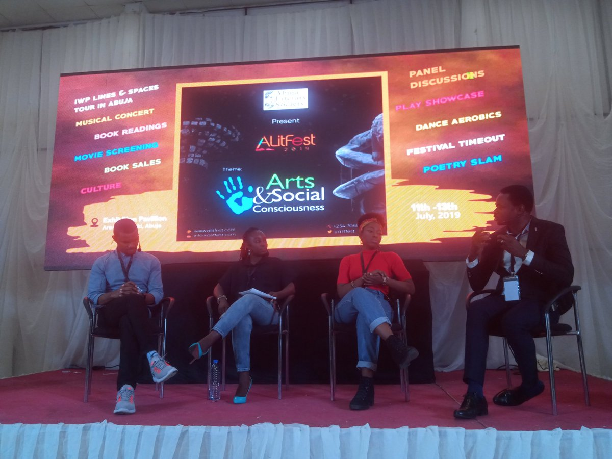 2nd Panel: Telling Nigerian Stories on the big screen - Pleasure or Purpose  Panelists: @EditiEffiong, Bem Pever, Aishat Abiri  Moderator: @JenniferDafwat   #ALitFest19