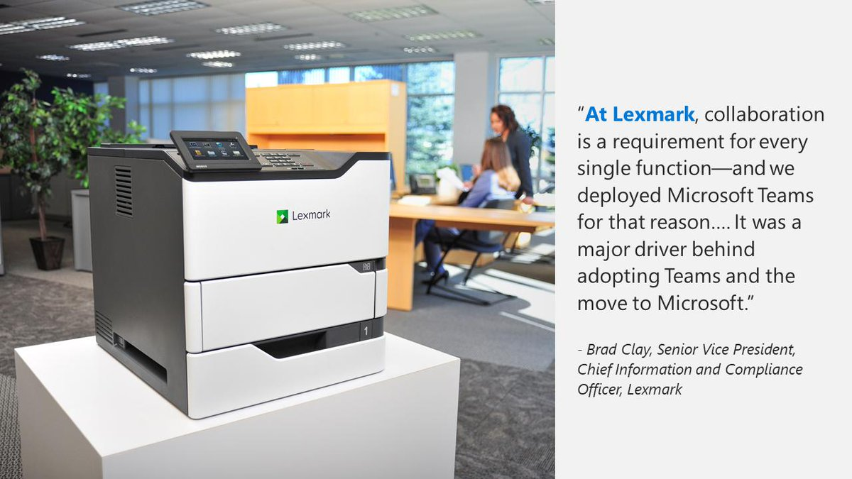 .@Lexmark uses Microsoft cloud technologies to support a revolution in printing thanks to #IoT. Read how they are optimizing globally: http://msft.social/M1LBLC