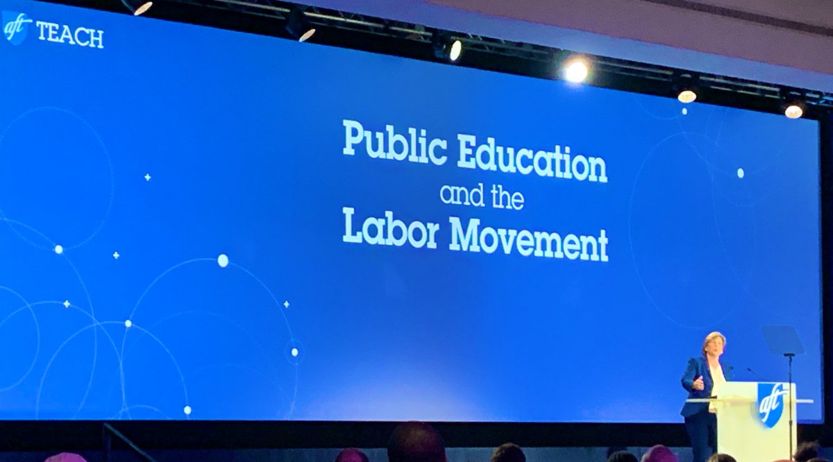 At #Teach19, @rweingarten rallies us to use our voices to fight for  ✅Well-funded Public Schools  ✅Affordable Higher Ed  ✅Healthcare for All  ✅Living Wage  ✅Decent Retirement   ✅Healthy Climate  ✅Strong Democracy.@AFTunion @CFTunion #1u