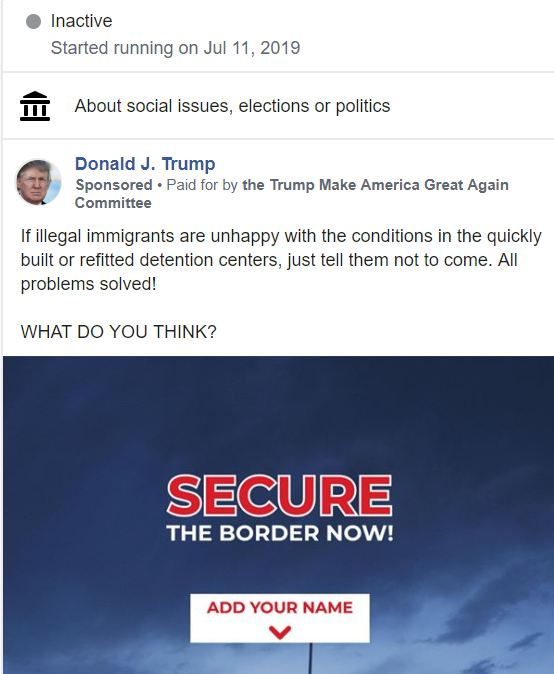 New Trump campaign Facebook ad touts inhumane conditions in