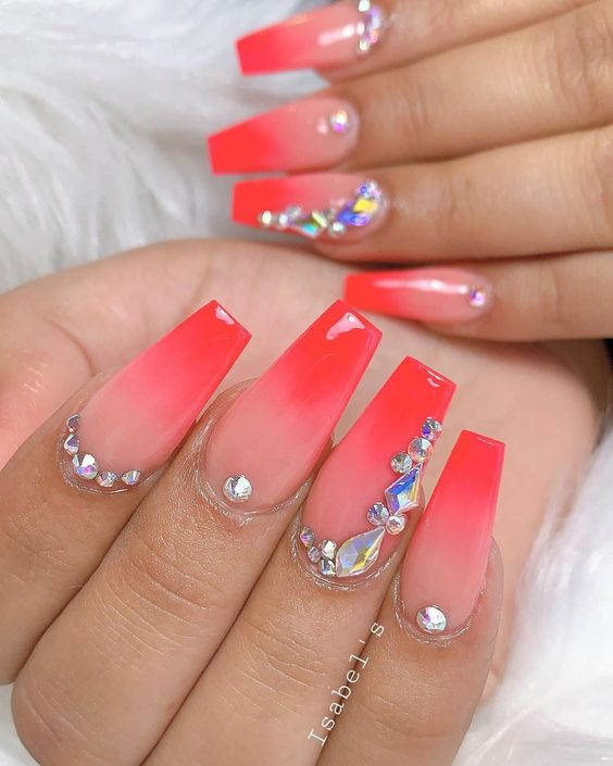 stylishbelles Cute pink ombre nails coffin shaped for summer