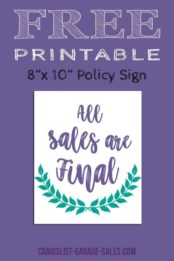 Avoid misunderstandings... Grab a Free, Printable 'All Sales Final Sign' for your upcoming garage sale! (No sign-up required.)  #freeprintables #allsalesfinal - http://bit.ly/32lqeSZ