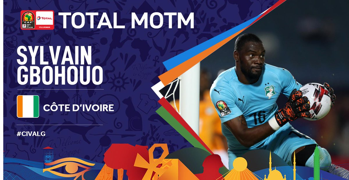 #TotalAFCON2019 After his stellar performance, S. Gbohouo has been selected as the Total Man of the Match. Congrats! #CIVALG #FootballTogether<br>http://pic.twitter.com/nFYjID8bBZ