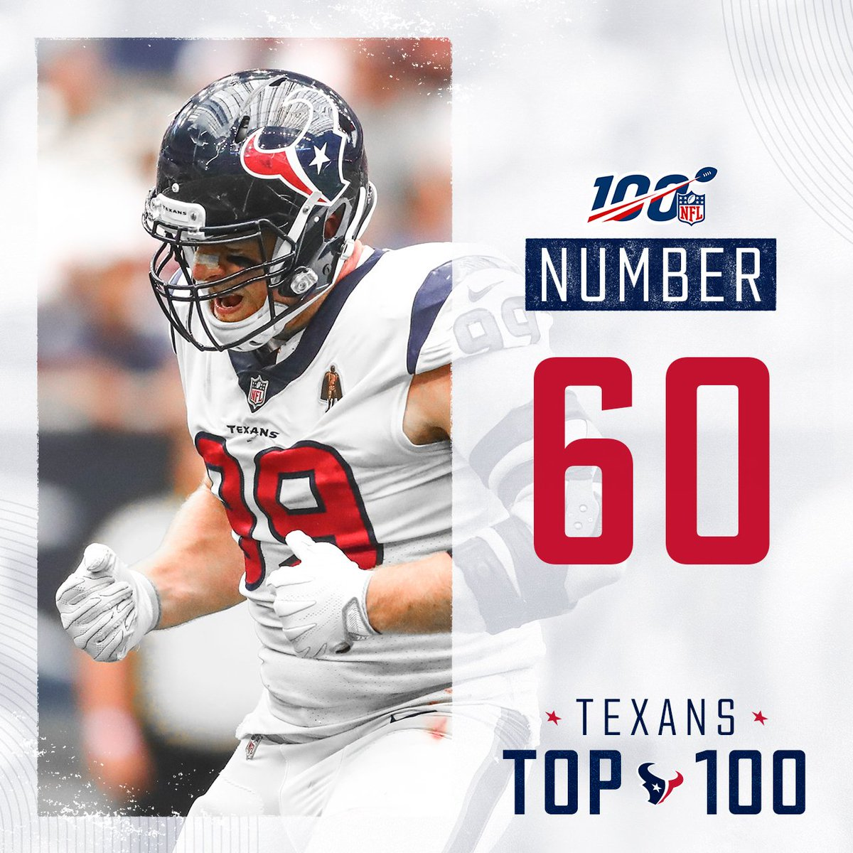 After back-to-back injured seasons, @JJWatt returned in 2018 with 16 sacks and first-team All-Pro honors.  #TexansTop100 » No. 60