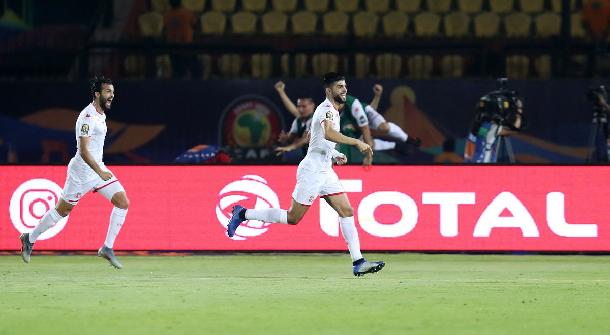Big, big moments for Sassi and his #CarthageEagles teammates.   #MADTUN #TotalAFCON2019<br>http://pic.twitter.com/6zN3sAFvcJ
