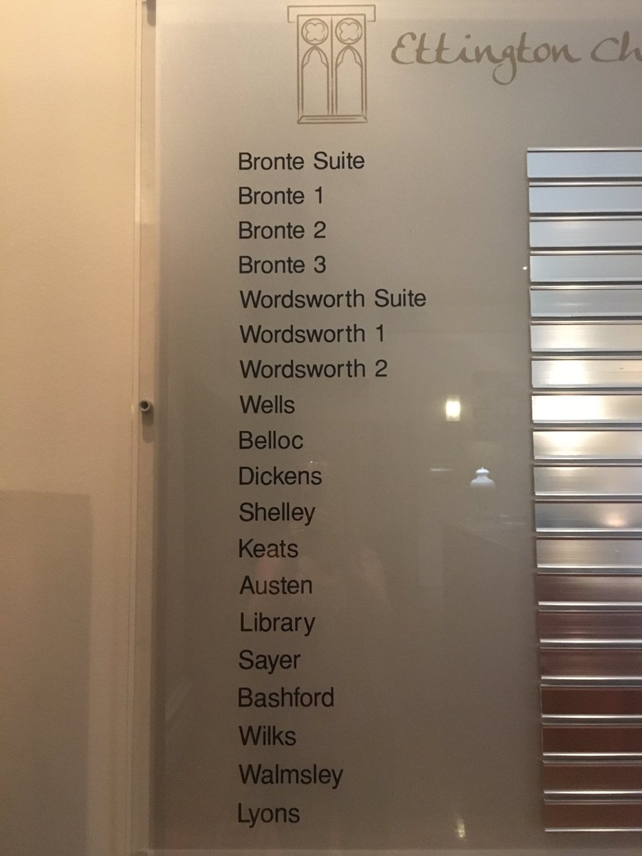 The hotel I'm staying in has all its conference rooms named after authors! 😀