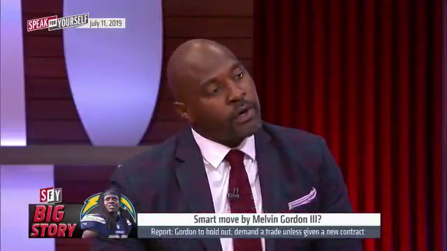 """""""Running Backs, once you're 30 franchises laugh at you. He knows this is the time for him to eat... Sources have confirmed there is at least one team that has guaranteed Melvin Gordon would be the highest paid RB in the NFL if available.""""— @MarcellusWiley"""