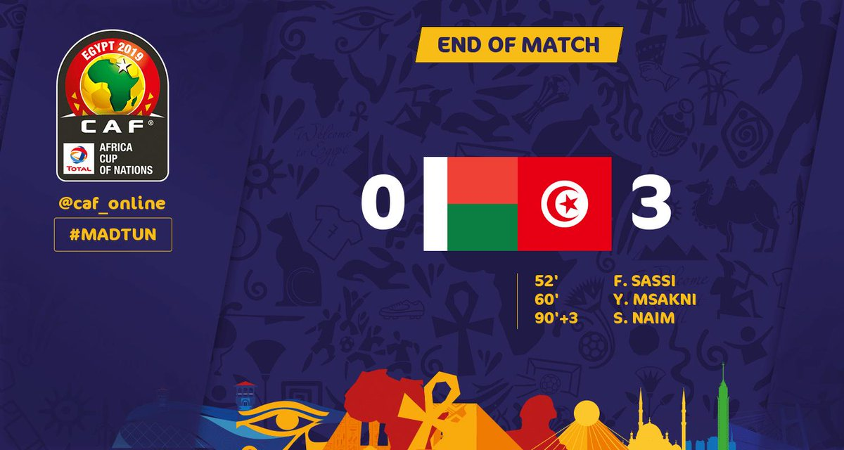FULL TIME | Madagascar - Tunisia 0-3  #TotalAFCON2019 #MADTUN https://t.co/NO5iHGrjs0