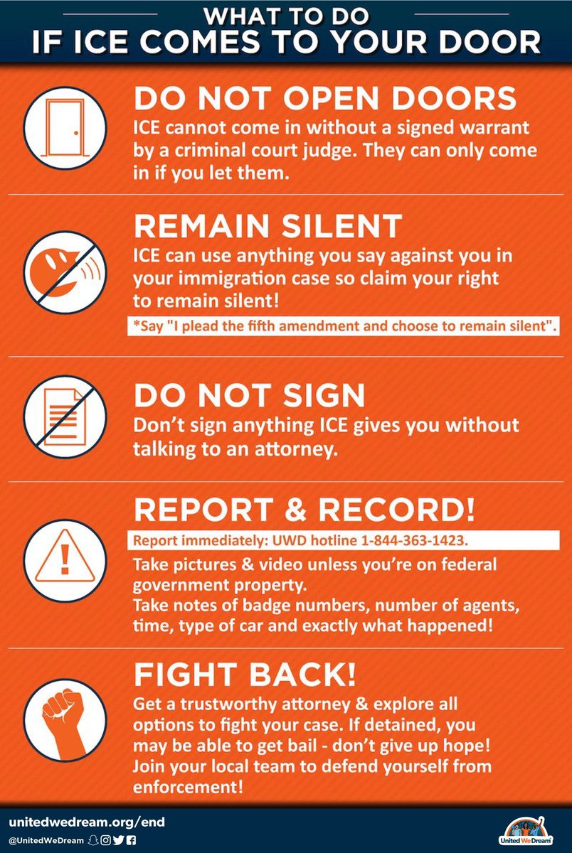The Trump Administration is planning nationwide raids to arrest undocumented families this Sunday (7/15). All people, including undocumented men, women, and children have rights. Please RT/share these graphics and take care of each other during these trying times. #ICEraids