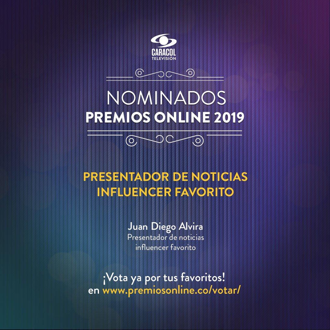""".@JuanDiegoAlvira está nominado a """"Presentador de noticias influencer favorito"""" en los @premiosonlineco. Si quieres que él sea el ganador, vota aquí : http://bit.ly/2S3kkBr"""