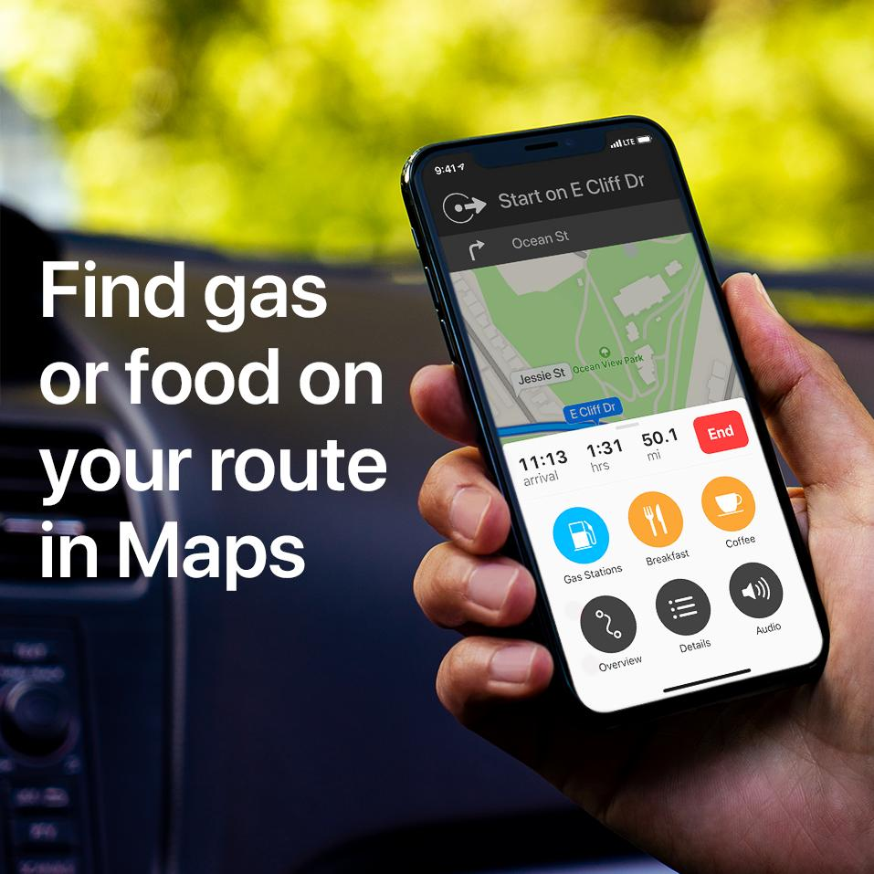 You're on an unfamiliar highway. The gas light just went on. Don't panic! Just open Maps.  Here's how to find gas or food along your route. ⛽️🍔👍
