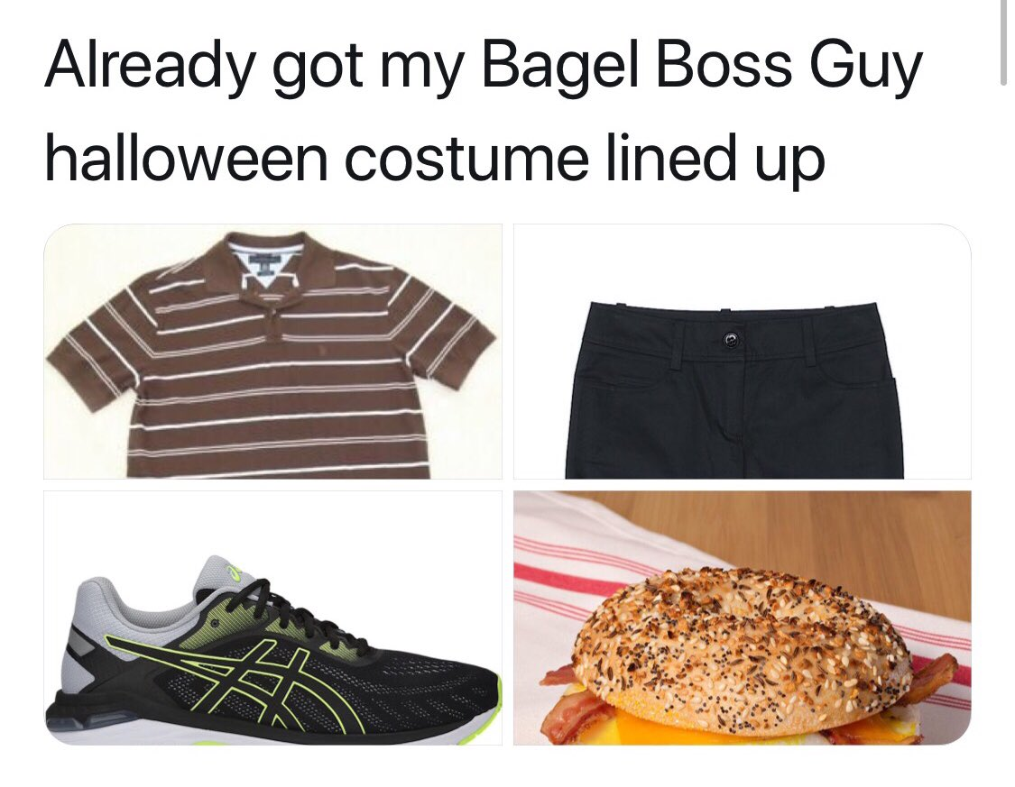I'm set for Halloween. Now if I can only make myself a foot shorter. #bagelboss #bagelguy <br>http://pic.twitter.com/QxCLokce2A