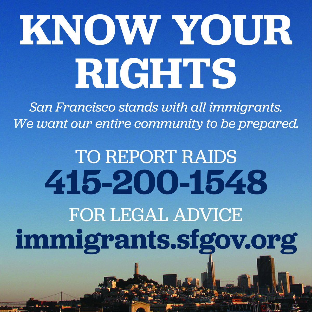 San Francisco is and always will be a sanctuary city that stands up for our immigrant residents. With possible ICE raids happening this weekend, we want our entire community to be prepared and know their rights. <br>http://pic.twitter.com/C8mpWdQ6Uv