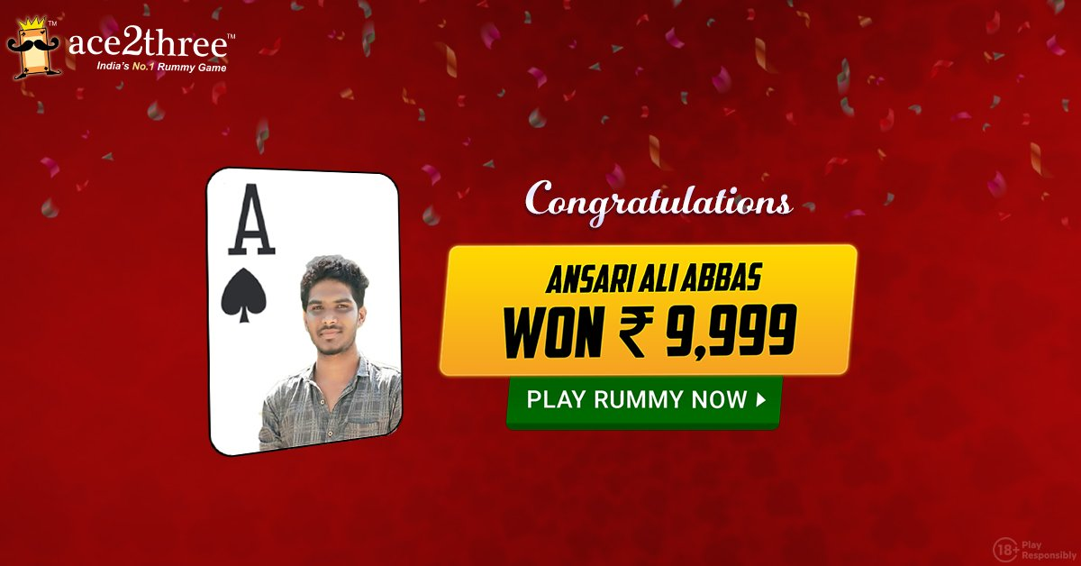 Hurray!! Its Celebration Time!! Congratulations to Ansari Ali Abbas who won INR 9999 in Ace2Three tourney :) Well, You can also Win Big! :) Come and Play Rummy at Ace2Three - Indias No.1 Rummy Game :D Play Now => bit.ly/ace2threerummy #ace2three #rummy