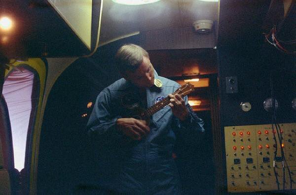 Neil Armstrong strums ukulele while in quarantine chamber with Buzz Aldrin and Michael Collins after Apollo 11's return, 50 years ago this summer.  #NASA<br>http://pic.twitter.com/SSCRl4YJp7