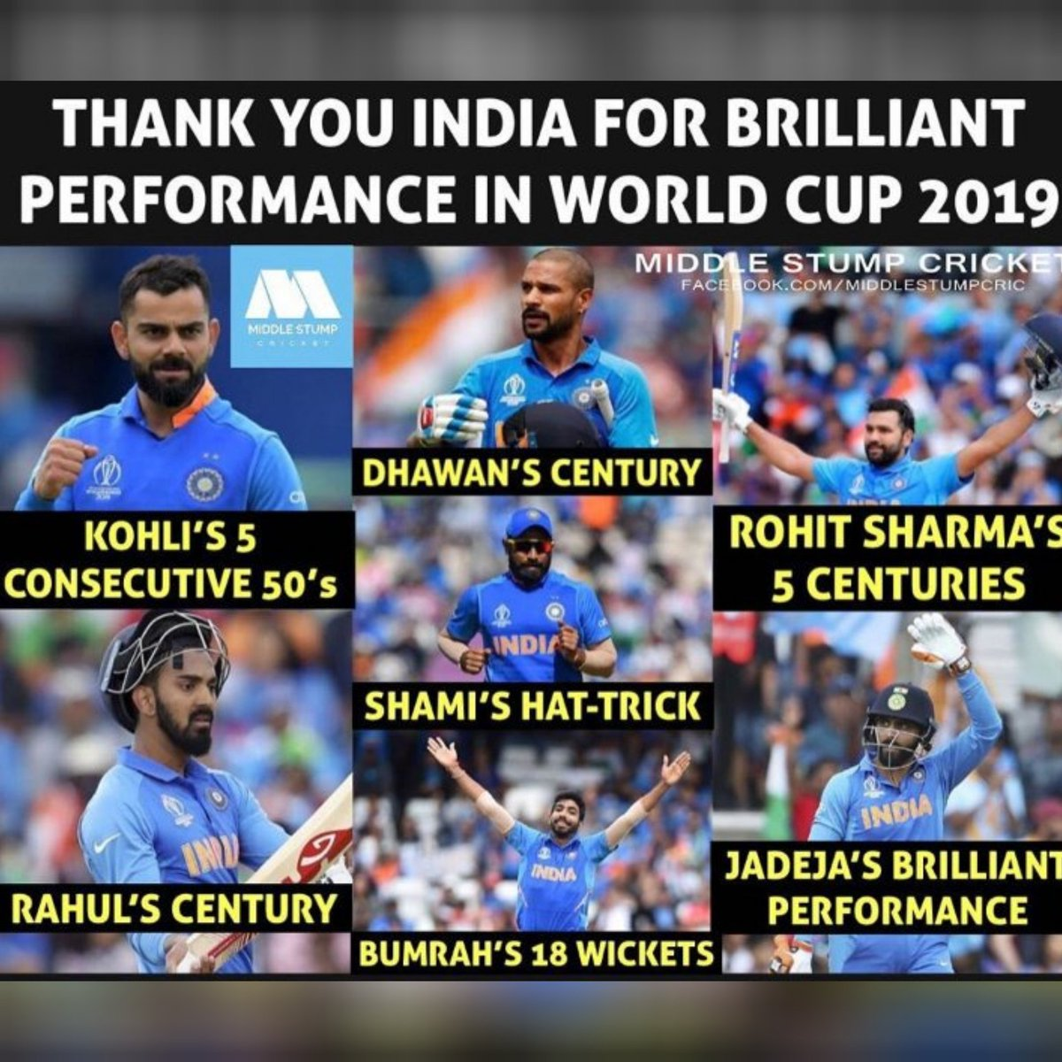 Thank you India for brilliant performance in #wc19 <br>http://pic.twitter.com/tAPMUD421g