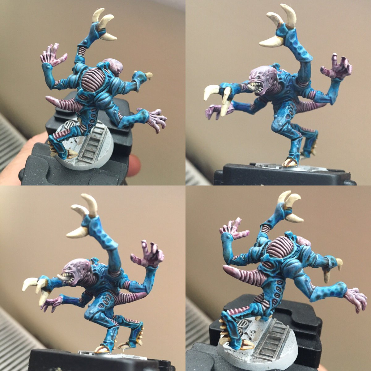 Playing with contrast.  Just got to do highlights and some tweaks.  Not bad these new paints.  #contrastpaints #paintingwarhammer #genestealers