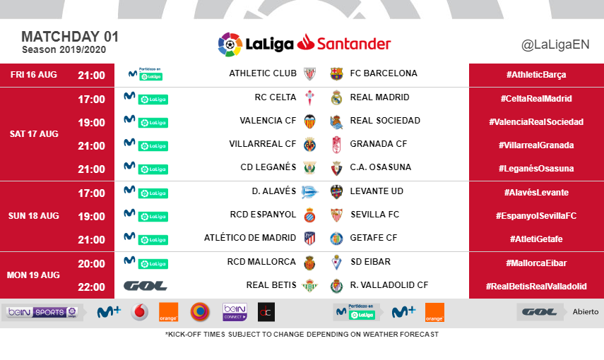 Kick-off times (CET) for Matchday 1 in #LaLigaSantander 2019/20. ⏰⚽️