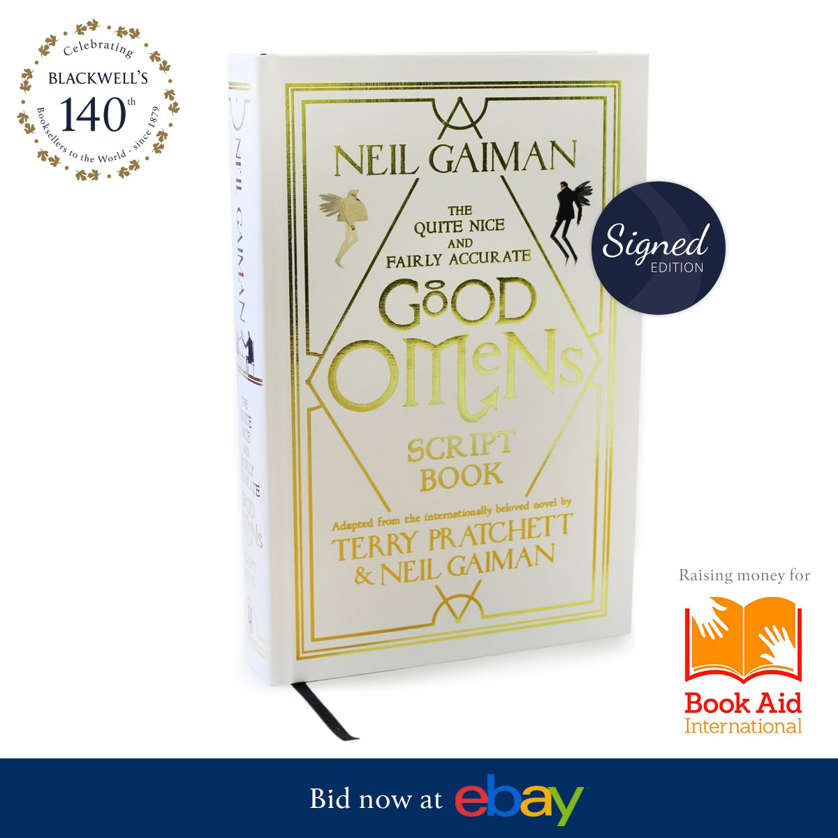 The last of our 140th Anniversary auctions in aid of @Book_Aid is live on @eBay4CharityUK! A gorgeous edition of #GoodOmens signed by @neilhimself @gollancz bid now at... ebay.co.uk/itm/3332605952…