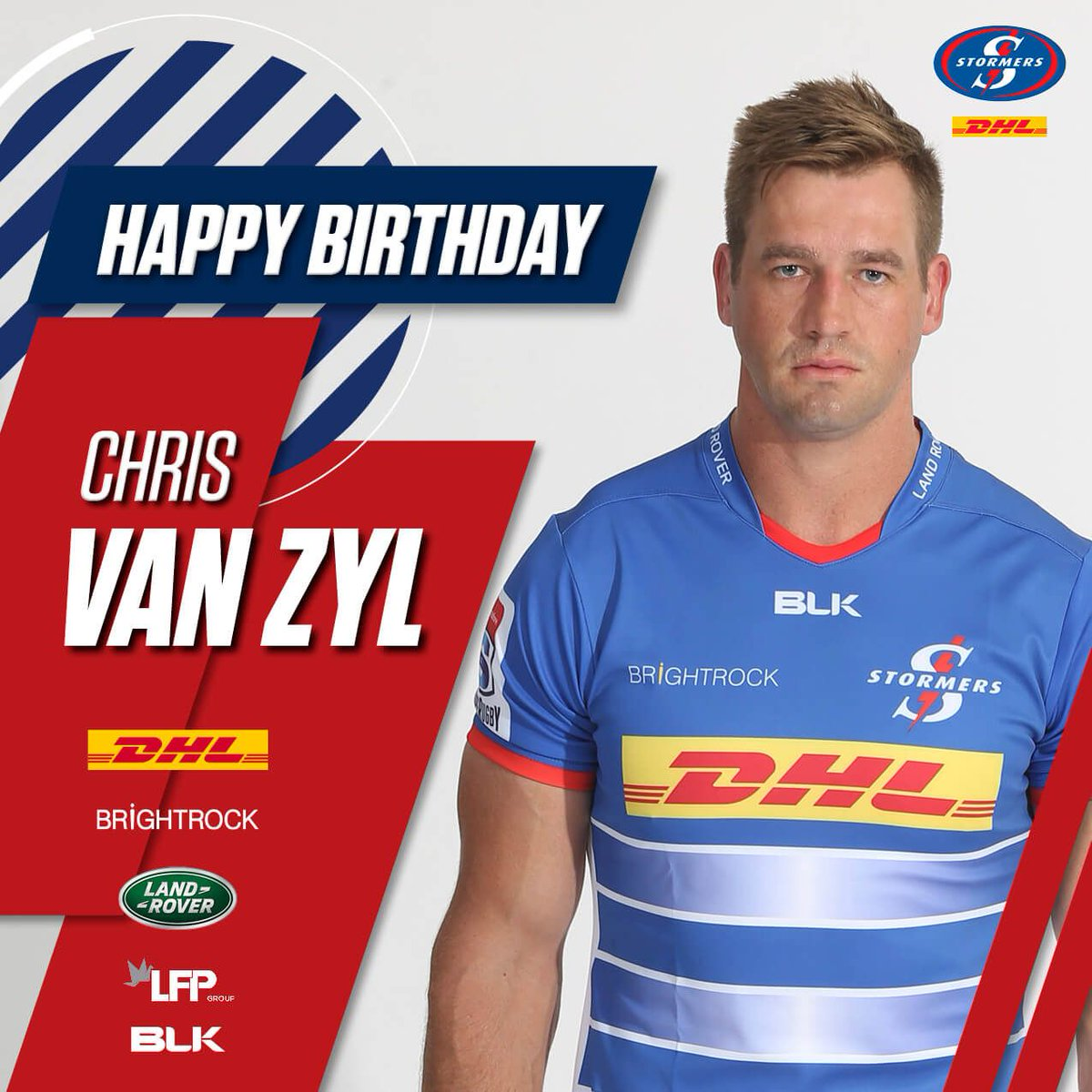 Happy birthday to DHL Stormers lock and @WP_RUGBY captain @Chris_van_Zyl. Looking forward to captains run today and a great game at DHL Newlands tomorrow. #Pickles #elcapitan 🔵⚪️🏔️