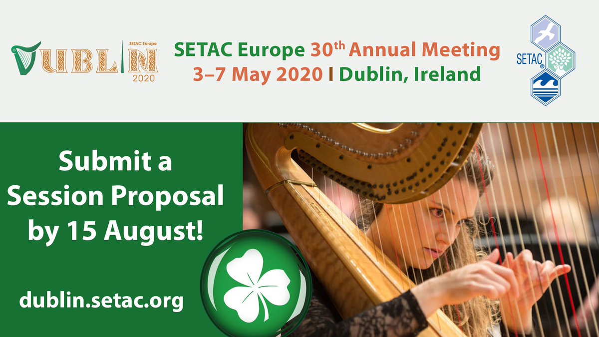 📣#SETACDublin 🇮🇪 in 2020 ☘️ Submit session proposals by 15 August 2019. See you all next year for more updates on #ERGO_EU & #EURION! @SETAC_world #ecotoxicology #EDCs #environment #health #Europe @OBERON_4EU @edcmet_eu @EU_H2020
