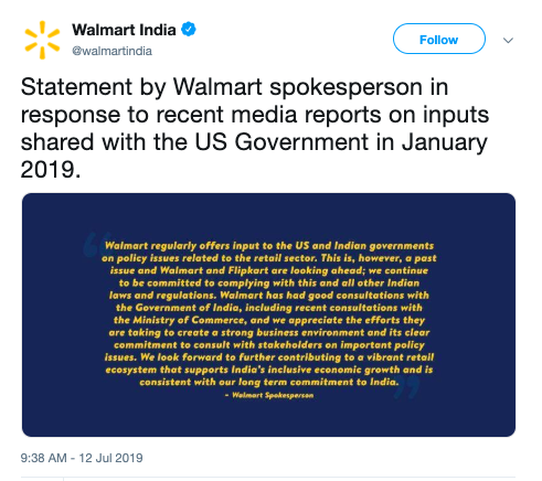 You have't seen the statment by WalMart India?   The guidelines mentioned in Press Note 2 are clarification and not new rules.  They are happy to work with Indian Govt.
