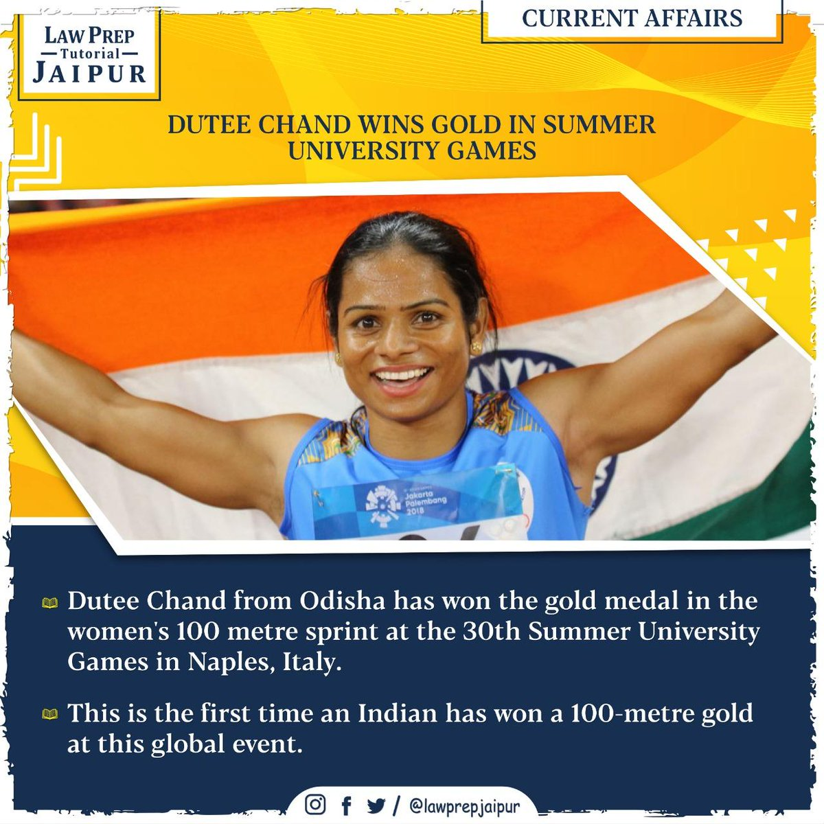 Stay connected for more such Current Affairs.  #Gk #CLATGK #CLAT2020 #CLATQuestions #currentaffairs #LegalGk #DuteeChand #WorldUniversityGames #Naples #MakingIndiaProud