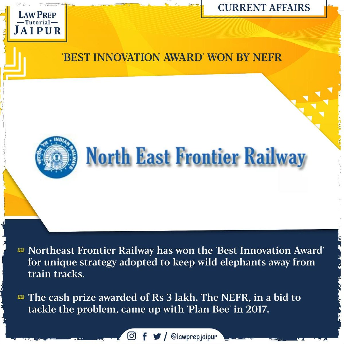 Stay connected for more such Current Affairs.  #Gk #CLATGK #CLAT2020 #CLATQuestions #currentaffairs #LegalGk #BestInnovationAward #NorthEastRailway
