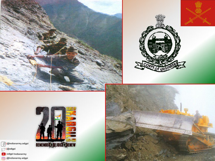#FirstInLastOut #Sappers rendered invaluable support during #KargilConflict & recovered over 5,000 mines & destroyed 155 blind shells of #Pakistani artillery.#Sappers constructed large number of helipads,activated number of water points & facilitated movement of troops & material
