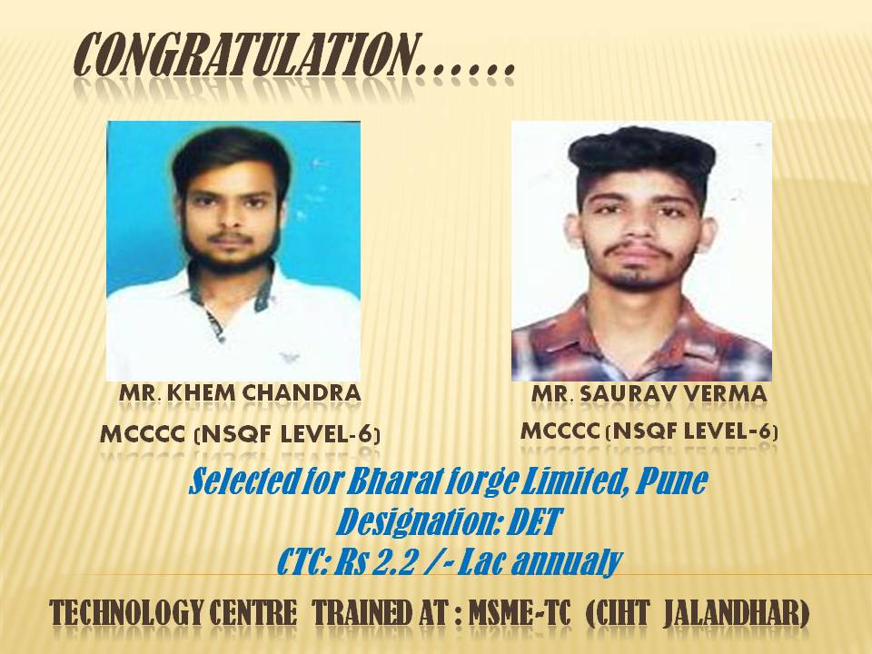 #MYMSME congratulations to trainees of CIHT, Jalandhar on their selection for Bharat Forge, Pune https://t.co/q8WX1AyOcx