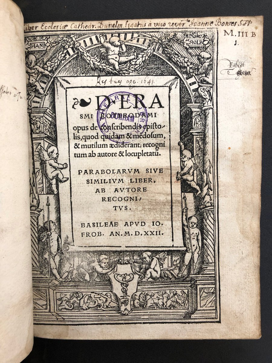 Desiderius Erasmus of Rotterdam, Christian humanist scholar, died #OnThisDay in 1536. Heres a rare first authorised edition of his work On the Writing of Letters, printed by Froben, Basel, 1522. The title page border was designed by Hans Holbein the Younger. #OTD #RareBooks