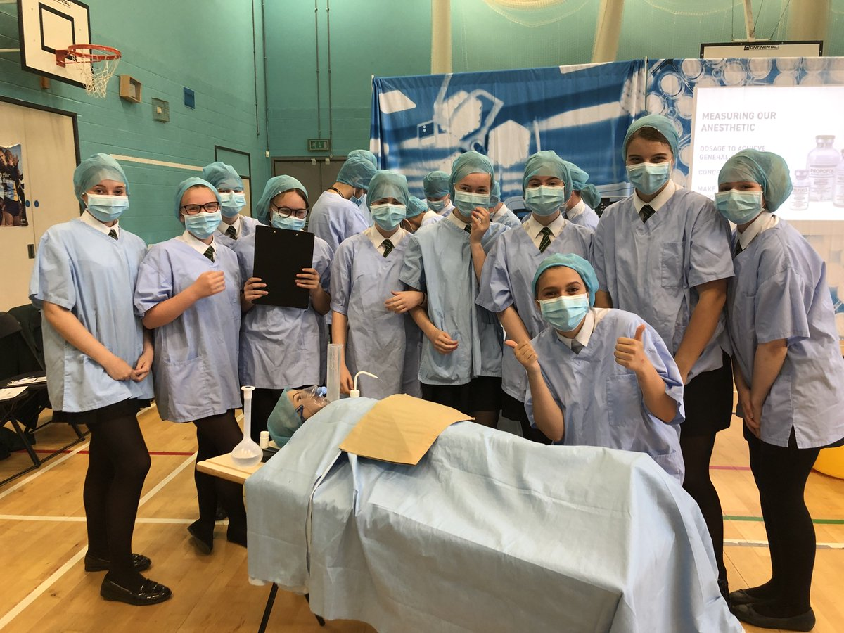 Year 10, 11 and 13 students getting involved today with Operating Theatre Live event as seen on Dragons Den.