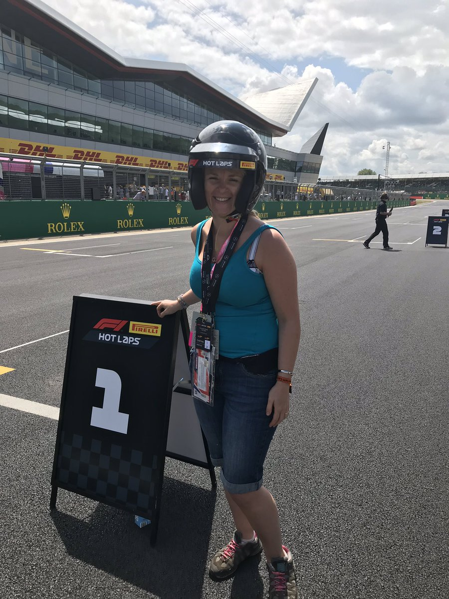 Hot lap with Esteban Gutierrez! @MercedesAMGF1   2 laps and a lovely chat afterwards in the pit lane! 155mph and some sharp corners!   I fancy myself as a F1 interviewer!