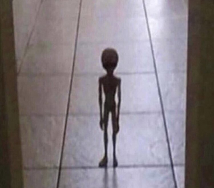 The alien I stole from Area 51 showing up in my room at 3am to tell me he threw up