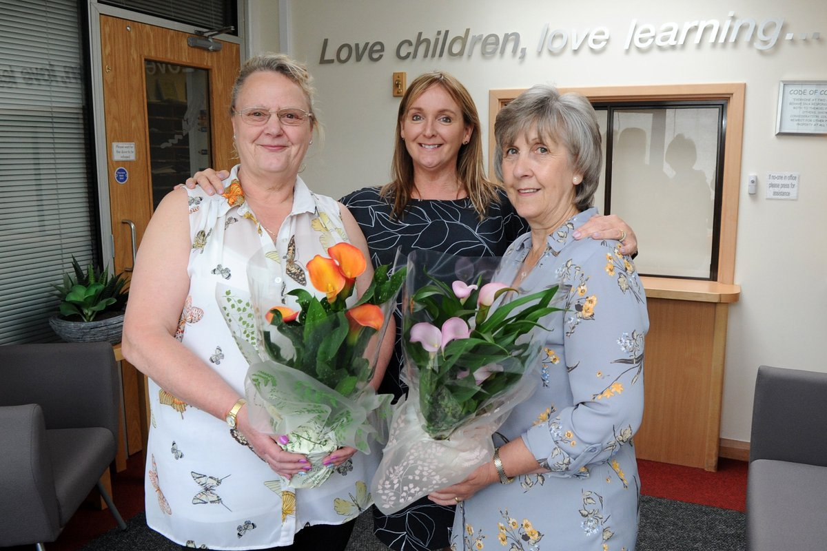 Two Gates Community Primary School teaching assistants June Wilson and Elaine Chetwynd have recently clocked up more than 50 years service at the school. Their dedication was celebrated in a special assembly. They are pictured with headteacher Nest Llewelyn-Cook @the_atlp