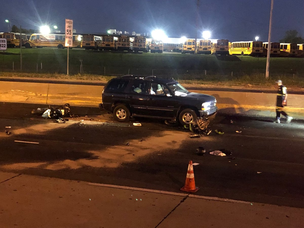 A fatal crash on I-70 near Riverview Blvd  involving 4-5 motorcycles